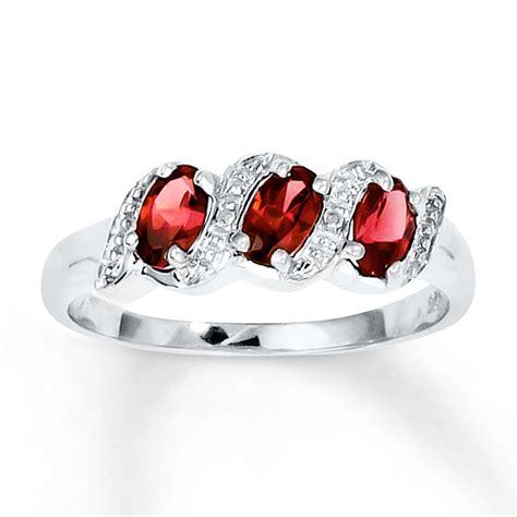 jared oval garnet ring accents sterling silver