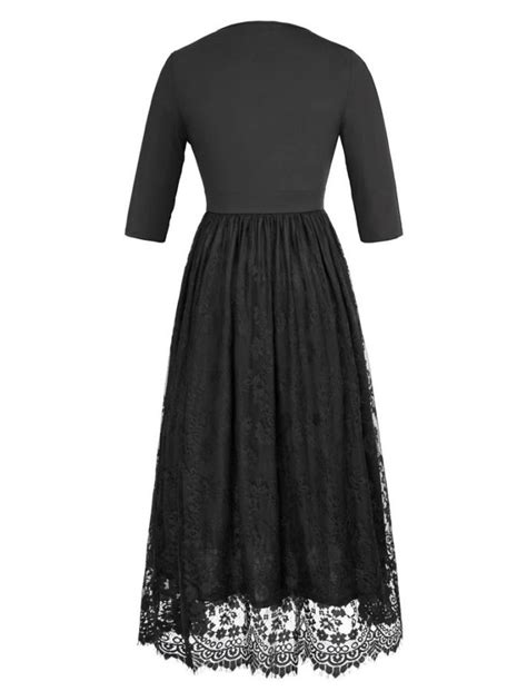 [Plus] Bold in Black Lace Evening Dress