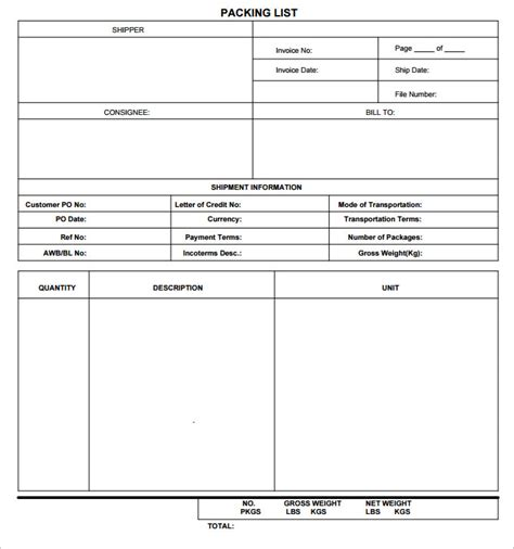 export packing list template pin export packing list template on