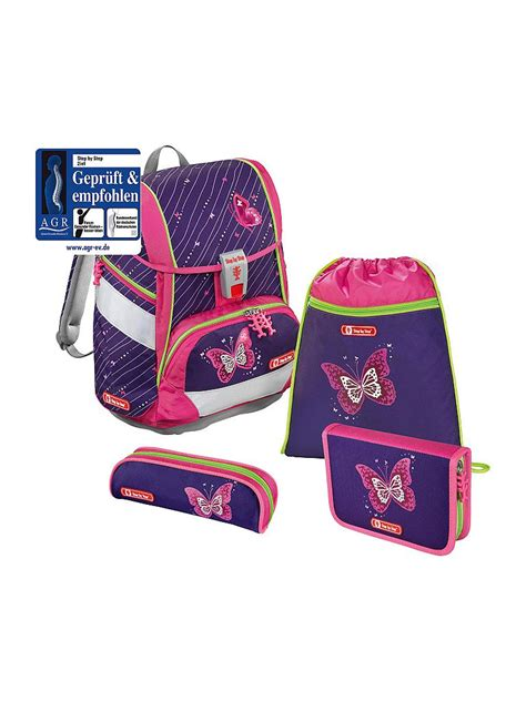 Set Overal 2in1 1 step by step schultaschen set quot 2 in 1 quot 4 tlg shiny butterflies lila