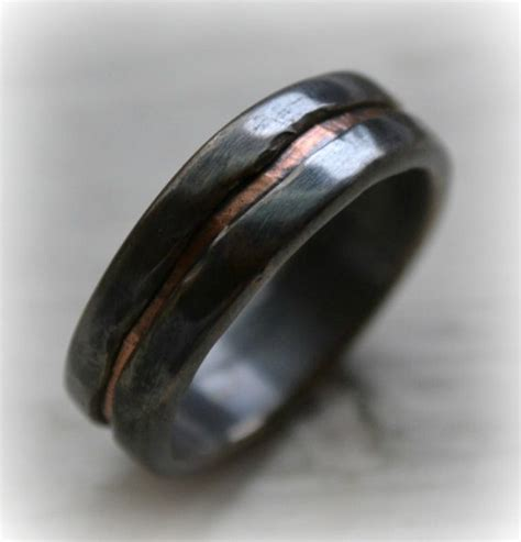 Mens Handmade Rings - mens wedding band rustic silver and copper by