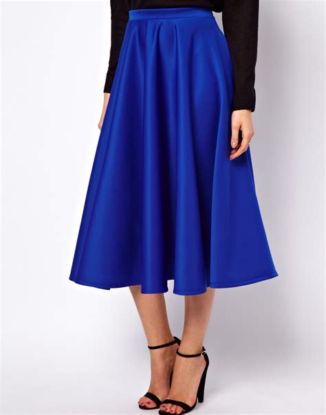 asos midi skirt in scuba in blue lyst