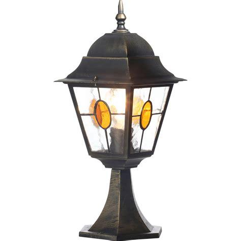 Outdoor Pedestal Lights kent outdoor pedestal light black gold effect toolstation