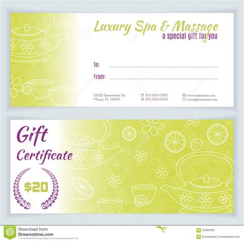 spa massage gift certificate template stock vector