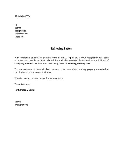 Experience Letter And Relieving Letter Format relieving letter fill