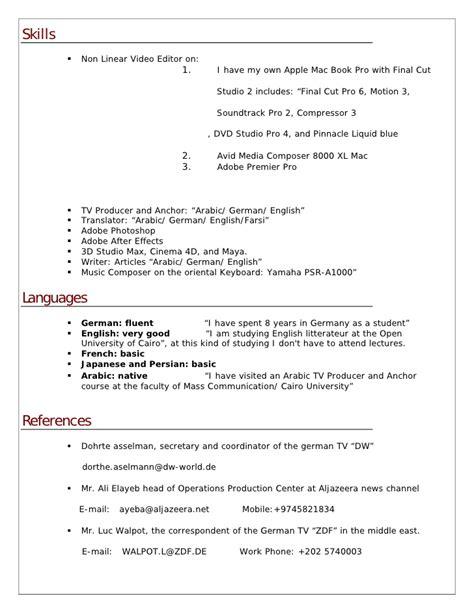 Non Linear Editor Sle Resume by Resume Ahmad Okbelbab