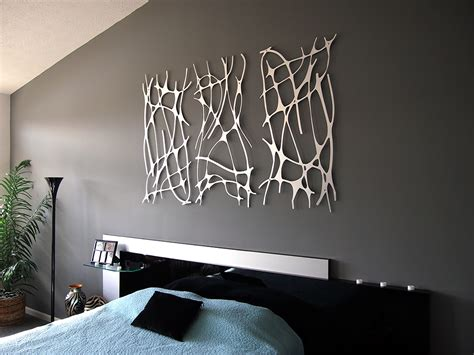 art for bedroom walls art nouveau web trio in brushed aluminum wall sculpture