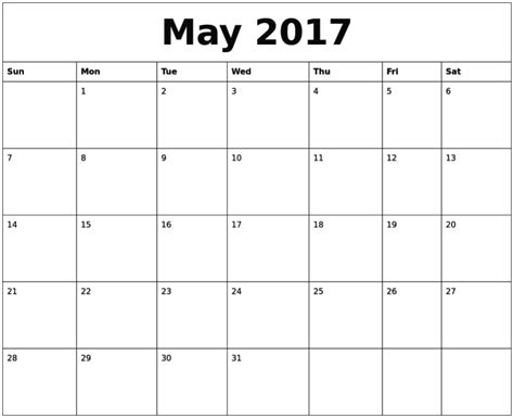 printable calendar may 2017 may 2017 calendar printable
