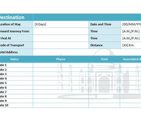 Free Travel Itinerary Template Excel by Travel Itinerary Template My Excel Templates