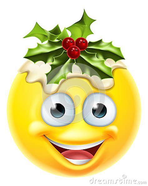 christmas pudding emoticon emoji stock vector image