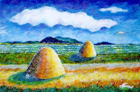 impressionist landscape painting impressionist landscape with ufo painting by ion vincent danu
