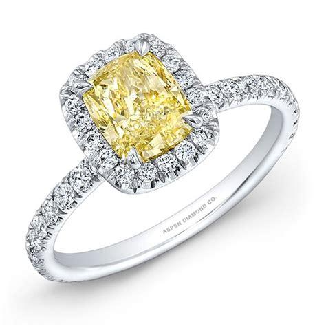 cushion cut yellow engagement ring 18k white gold