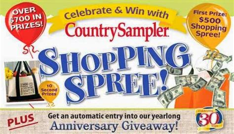 countrysler shopping spree anniversary giveaway sweepstakesbible