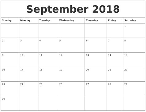 September 2018 Editable Calendar Template Edit Calendar Template 2018