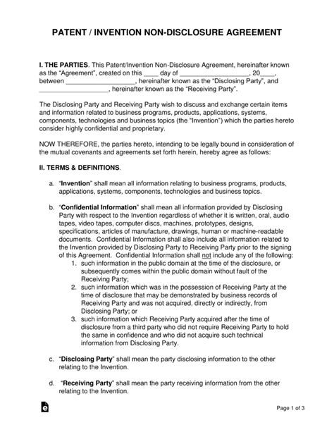 Patent Invention Non Disclosure Agreement Nda Template Eforms Free Fillable Forms Standard Nda Template Free
