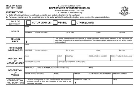 bill of sale dmv free connecticut dmv bill of sale form pdf docx