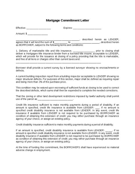 Commitment Letter For Volunteers mortgage loan commitment letter sle through
