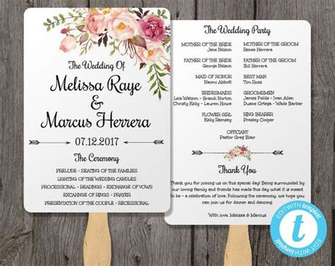 wedding day program template wedding program fan template bohemian floral instant