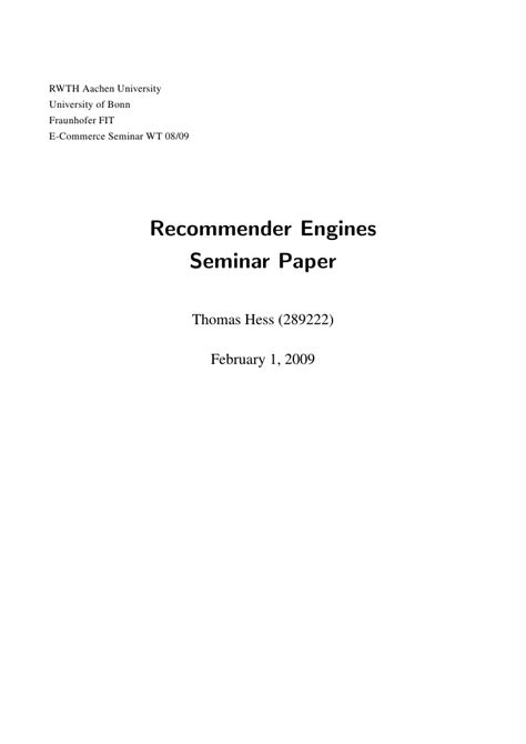 layout of seminar paper recommender engines seminar paper