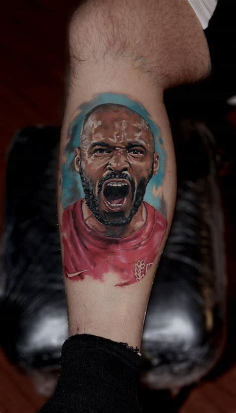 thierry henry tattoo realistic thierry henry portrait on the lower