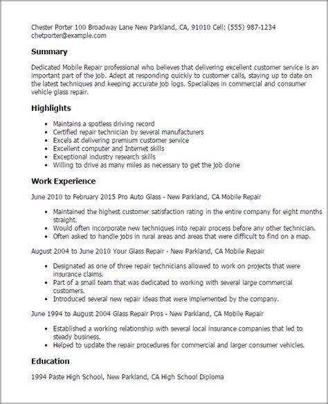 resume format for mobile technician professional mobile repair templates to showcase your
