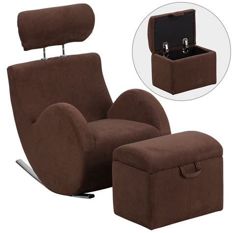chair with storage ottoman hercules series brown fabric rocking chair with storage