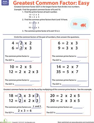 Greatest Common Factor Worksheets by Greatest Common Factor Easy Worksheet Education