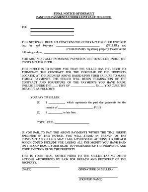 Fillable Online Oklahoma Final Notice Of Default For Past Due Payments In Connection With Contract For Deed Template Minnesota