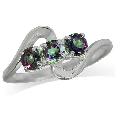 3 mystic topaz white gold plated 925 sterling