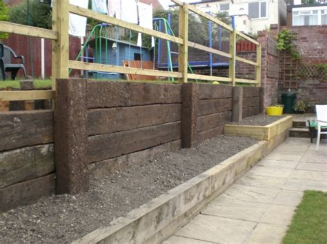 Garden Sleeper Wall by Sheffield Builder Landscaper Gallery Images Of Houses And