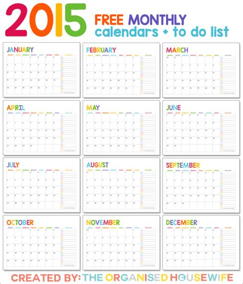 printable calendar and to do list free 2015 monthly calendar pages with to do list the