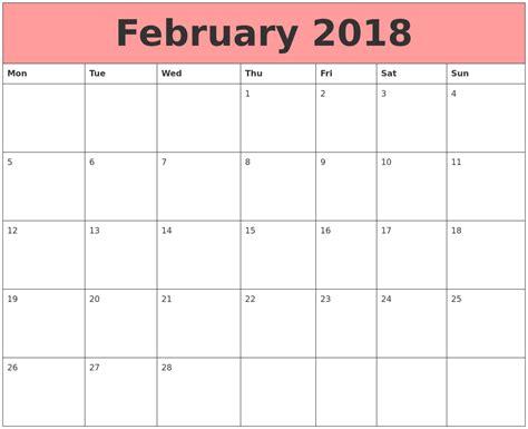 Calendars That Work February 2018 Calendars That Work