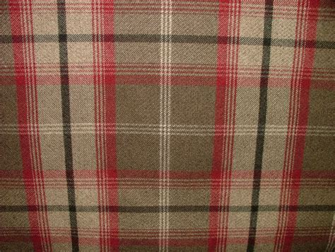 tartain curtains balmoral rosso wool effect washable thick tartan curtain