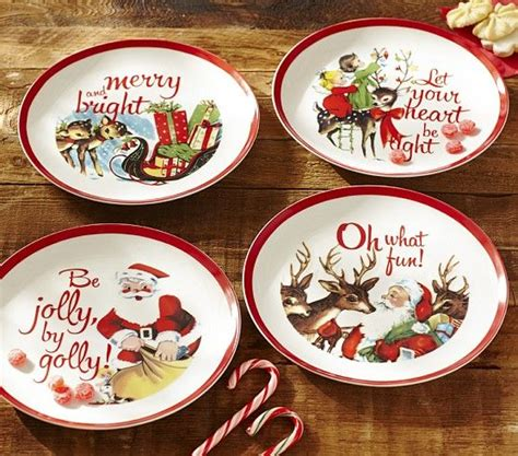 love retro holiday prints  banded dinnerware   pottery barn kids xmas plates