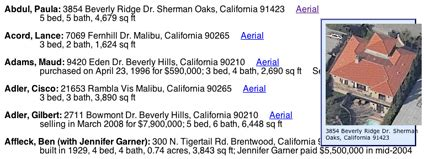 Celebrity Home Addresses | mark allen 187 hollywood celebrity addresses with aerial