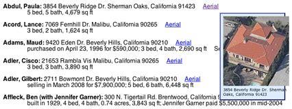 Celebrity Home Addresses | mark allen 187 hollywood celebrity addresses with aerial