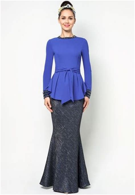 Zalora Gamis baju kurung with studded trim and bow peplum zalora kebaya baju kurung baju