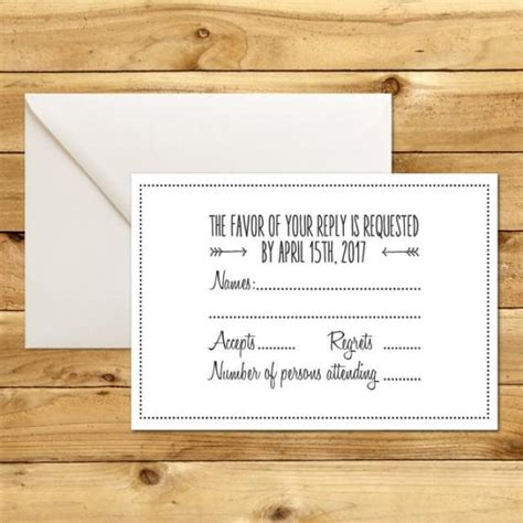 Printable Wedding Rsvp Response Card Template Dark Grey White Instant Download Rsvp Template Word