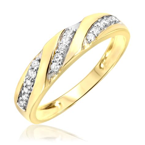 mens wedding ring gold 1 4 carat t w s wedding ring 14k yellow gold