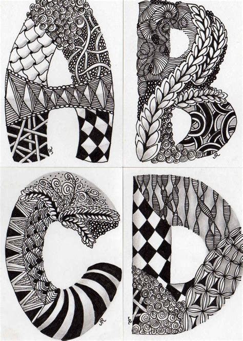 free printable zentangle letters reyn s nest well joe here they begin