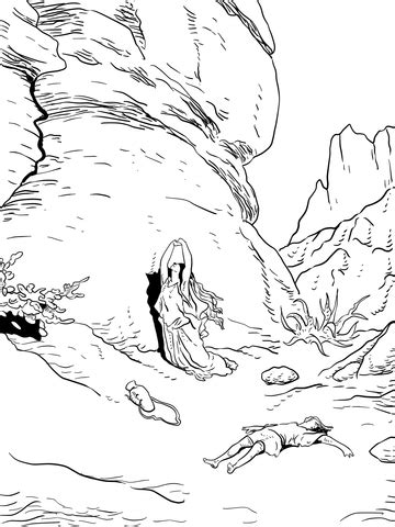 hagar and ishmael in the wilderness coloring page free