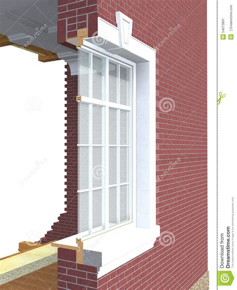wood window section cross section of wooden window stock illustration image