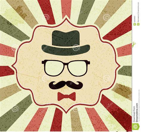 achtergrond met de hoed van hipster glazen snor stock