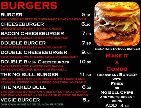 no bull burgers menu foods burgers and
