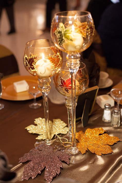 fall wedding table centerpieces    goblet trios