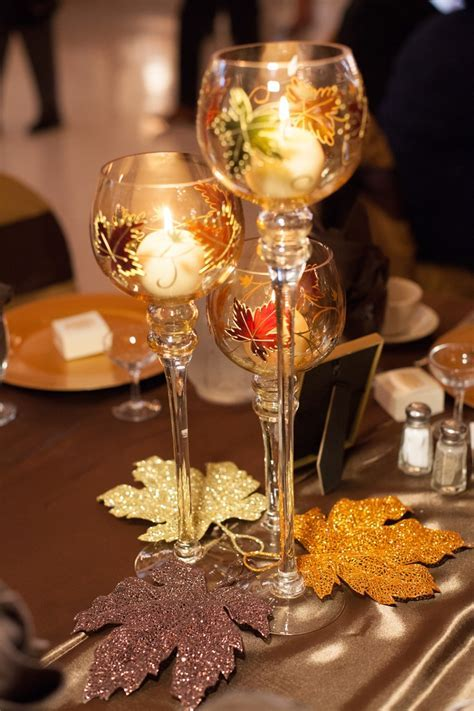 Fall Wedding Table Centerpieces  We got these goblet trios
