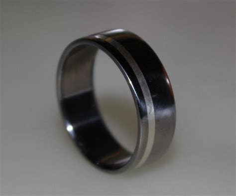 titanium ring mens titanium wedding band sterling silver