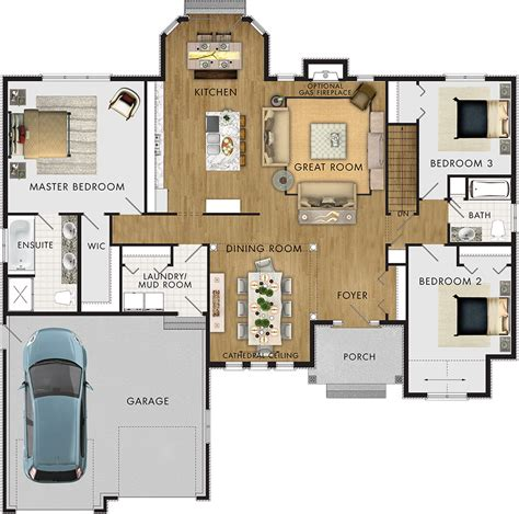 3br 2ba house plans the foxstone ii floor plans ontario home builders
