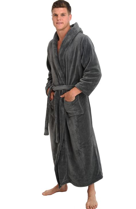 amazon com blubi men s breathable terry cloth solid color warm del rossa men s fleece full length hooded bathrobe robe at