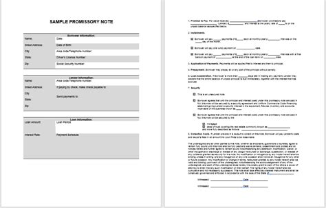 promissory note template microsoft word 43 free promissory note sles templates ms word and
